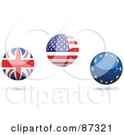Royalty Free RF Clipart Illustration Of A Digital Collage Of Shiny 3d UK American And Europe Spheres