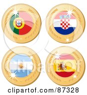 Royalty Free RF Clipart Illustration Of A Digital Collage Of 3d Golden Shiny Portugal Croatia Argentina And Spain Medals by elaineitalia