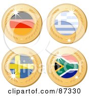 Royalty Free RF Clipart Illustration Of A Digital Collage Of 3d Golden Shiny Germany Greece Sweden And South Africa Medals