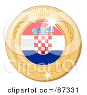 Royalty Free RF Clipart Illustration Of A 3d Golden Shiny Croatia Medal by elaineitalia