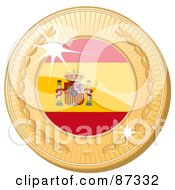 Royalty Free RF Clipart Illustration Of A 3d Golden Shiny Spain Medal by elaineitalia