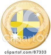 Royalty Free RF Clipart Illustration Of A 3d Golden Shiny Sweden Medal by elaineitalia