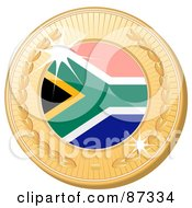 Royalty Free RF Clipart Illustration Of A 3d Golden Shiny South Africa Medal by elaineitalia