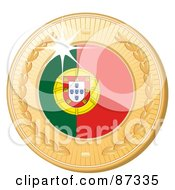 Royalty Free RF Clipart Illustration Of A 3d Golden Shiny Portugal Medal by elaineitalia