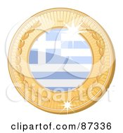 Royalty Free RF Clipart Illustration Of A 3d Golden Shiny Greece Medal by elaineitalia
