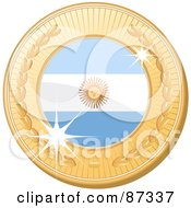 Royalty Free RF Clipart Illustration Of A 3d Golden Shiny Argentina Medal by elaineitalia