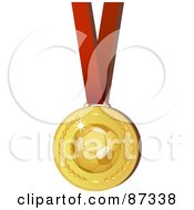 Royalty Free RF Clipart Illustration Of A Shiny 3d Golden Soccer Sports Medal On A Red Ribbon by elaineitalia
