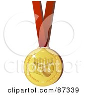 Shiny 3d Golden Bowling Sports Medal On A Red Ribbon