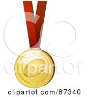 Shiny 3d Golden Rugby Sports Medal On A Red Ribbon