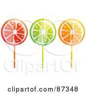 Royalty Free RF Clipart Illustration Of A Digital Collage Of Cherry Lime And Orange Suckers by elaineitalia