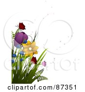 Royalty Free RF Clipart Illustration Of Colorful Spring Flowers And Bubbles by elaineitalia