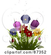 Colorful Spring Daffodils Pansies And Tulips With Bubbles