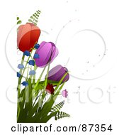 Red And Purple Spring Tulips And Bell Flowers With Bubbles