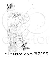 Royalty Free RF Clipart Illustration Of A Black And White Line Drawn Floral Scene Of Flowers And Plants by elaineitalia