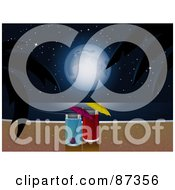 Royalty Free RF Clipart Illustration Of Two Cocktails With A View Of A Full Moon Over The Ocean And A Tropical Beach At Night