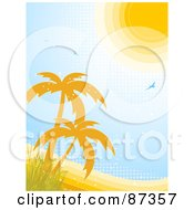 Royalty Free RF Clipart Illustration Of A Vertical Tropical Landscape Scene Of The Sun Over Palm Trees And Halftone