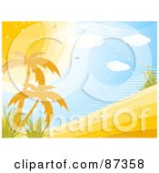 Royalty Free RF Clipart Illustration Of A Horizontal Tropical Landscape Scene Of The Sun Over Palm Trees And Halftone
