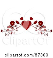 Royalty Free RF Clipart Illustration Of A Red Heart And Floral Valentine Website Header Flourish