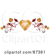 Royalty Free RF Clipart Illustration Of A Golden Disco Heart And Vine Valentine Website Header Flourish