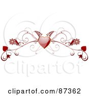 Royalty Free RF Clipart Illustration Of A Red Fern Heart And Floral Valentine Website Header Flourish