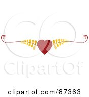 Royalty Free RF Clipart Illustration Of A Red Heart And Gold Fern Valentine Website Header Flourish