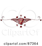 Royalty Free RF Clipart Illustration Of A Red Flower And Fern Valentine Website Header Flourish by elaineitalia