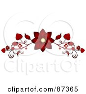 Royalty Free RF Clipart Illustration Of A Red Flower Valentine Website Header Flourish