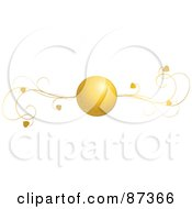 Royalty Free RF Clipart Illustration Of A Golden Heart Ball And Vine Valentine Website Header Flourish by elaineitalia