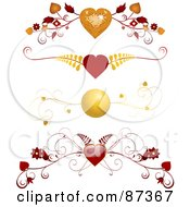 Royalty Free RF Clipart Illustration Of A Digital Collage Of Red And Gold Floral Heart Valentine Header Flourishes by elaineitalia