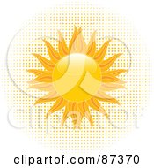 Royalty Free RF Clipart Illustration Of A Blazing Shiny Summer Sun Over Halftone Dots by elaineitalia