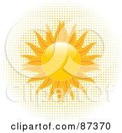 Royalty Free RF Clipart Illustration Of A Blazing Shiny Summer Sun Over Halftone Dots by elaineitalia