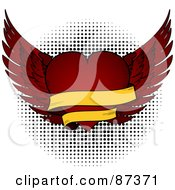 Royalty Free RF Clipart Illustration Of A Red Winged Valentine Heart With A Blank Banner
