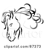 Royalty Free RF Clipart Illustration Of A Black Line Art Horse Head With A Blowing Mane by C Charley-Franzwa