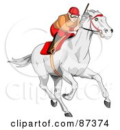 Royalty Free RF Clipart Illustration Of A Focused Jockey Racing A White Horse