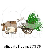 Royalty Free RF Clipart Illustration Of A Cow And Sheep Pulling A Middle Eastern Man And Corn In A Cart by Dennis Cox