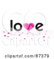 Royalty Free RF Clipart Illustration Of Heart Confetti Under The Word Love by MilsiArt