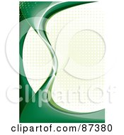 Royalty Free RF Clipart Illustration Of An Abstract Green Curve And Halftone Background