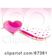 Royalty Free RF Clipart Illustration Of A Large Shiny Pink Heart With Gold And Pink Ribbons And Hearts On Pink by MilsiArt