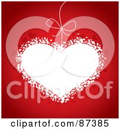 Royalty Free RF Clipart Illustration Of A White Heart With A String On Red