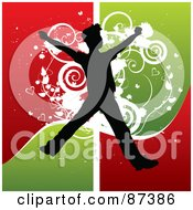 Royalty Free RF Clipart Illustration Of A Silhouetted Leaping Boy Over Grungy Red And Green by MilsiArt