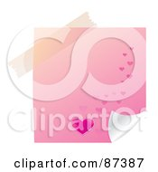 Royalty Free RF Clipart Illustration Of A Piece Of Tape Over A Pink Heart Note by MilsiArt