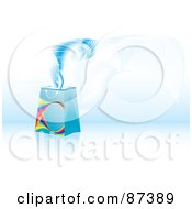 Royalty Free RF Clipart Illustration Of Magic Floating Out Of A Blue Shopping Or Gift Bag