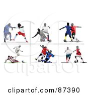 Digital Collage Of Six Soccer Player Scenes by leonid