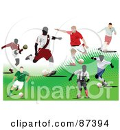 Soccer Players Over A White And Green Halftone Background by leonid