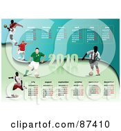 Royalty Free RF Clipart Illustration Of A 2010 Soccer Calendar With All Months And Athletes by leonid