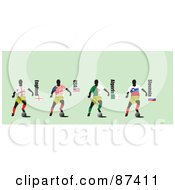 Royalty Free RF Clipart Illustration Of A Digital Collage Of Soccer Players From England USA Algeria And Slovenia by leonid