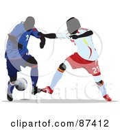 Royalty Free RF Clipart Illustration Of Soccer Opponents During A Game Version 1 by leonid