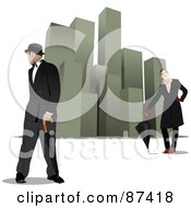 Royalty Free RF Clipart Illustration Of A Man And Woman With Umbrellas Near Skyscrapers by leonid