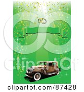 Royalty Free RF Clipart Illustration Of A Vintage Car Under Wedding Rings And A Banner On A Glittery Green Background