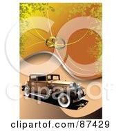 Antique Car On An Orange Background With Wedding Rings